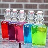 Paksh Novelty Bormioli Rocco Clear Glass Swing Top Pocket Flask / Glass Liquor Bottle | 17 oz [set of 4]