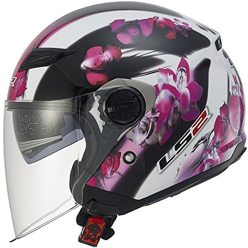 LS2 Helmets 569 Track Floral Open Face Motorcycle Helmet with Sunshield (Pink, Medium) (Pink Open Face Motorcycle Helmet compare prices)