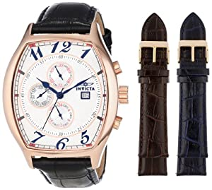 Invicta Men's 14331 Specialty Tonneau Watch with 3 Textured Leather Strap Set