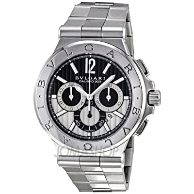 Bvlgari Diagono Black Chronograph Stainless Steel Mens Watch DG42BSSDCH by Bvlgari