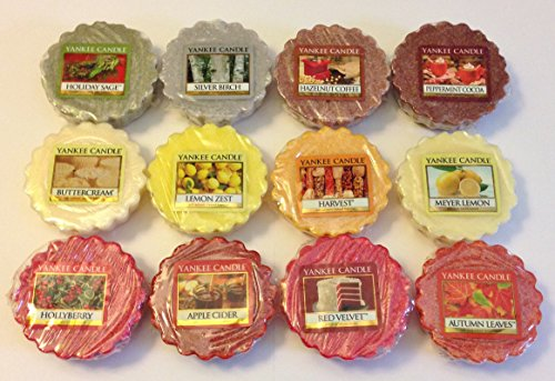 Yankee Candle 12 Assorted Wax Potpourri Tarts: Buttercream, Silver Birch, Peppermint Cocoa, Lemon Zest, Meyer Lemon, Apple Cider, Harvest, Autumn Leaves, Hazelnut Coffee, Red Velvet, Hollyberry, Holiday Sage