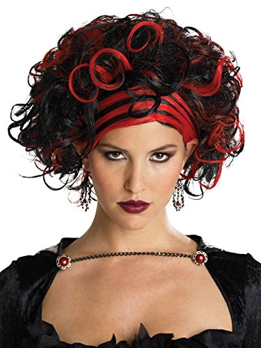 Dark Red and Black Short Curly Wig with Slick Down Bangs Womens Costume Wigs