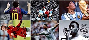 "Six 6""x4"" Photos of Soccer Legends With FACSIMILE Autographs. Messi,Ronaldo,Rooney,Beckham,Pele,Maradona"