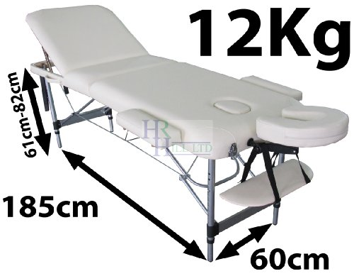 MASSAGE IMPERIAL LIGHTWEIGHT PROFESSIONAL MAYFAIR ALUMINIUM 12 Kg - CREAM 3-SECTION PORTABLE MASSAGE TABLE COUCH BED SPA WITH FREE MASSAGE TABLE COVER 5cm/2