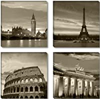 XXL 6604 4-Piece Canvas Wall Picture 4x 30 x 30 cm Cities - London, Paris, Rome, Berlin All Images on Large, Real Wood Frames Ready to Hang from Visario