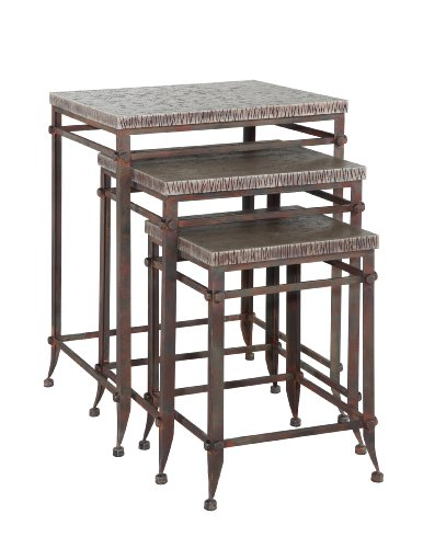 Powell Foundry Antique Pewter Square Nested Table, 3-Piece front-1000803