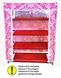 PINDIA 4 LAYER PINK FLOWER DESIGN SHOE RACK ORGANIZER