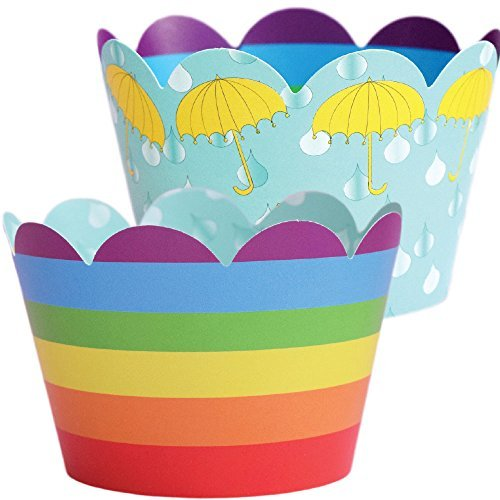 rainbow-cupcake-wrappers-umbrella-baby-shower-theme-confetti-couture-party-supplies-36-wraps-by-conf