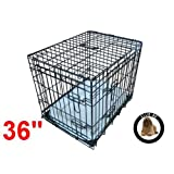 Ellie-Bo Deluxe Extra Strong 2 Door Folding Dog Puppy Cage with Faux Sheepskin Bed Large 36 inch Blackby Ellie-Bo