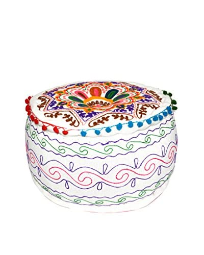 Uptown Down Hand-Embroidered Pouf