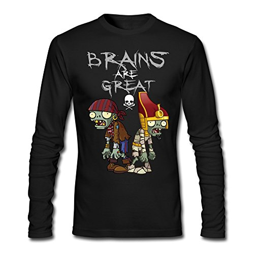[Men's Plants VS Zombies 2 Brains ARE Great T-shirts Black Long-Sleeve] (Calvin And Hobbes Couple Costume)