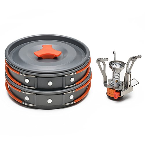 ODOLAND Camping Cookware Kit with Mini Camping Stove - Best 1-2 Person Pot Pan Kit for Outdoor Backpacking Gear & Hiking Cooking Equipment (Camping Cookware 2 Person compare prices)