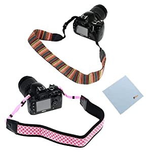 GTMax Soft Multi-Color Classic Camera Neck Strap + Pink Anti-Slip Neoprene Shoulder Strap + Cleaning Cloth for Canon SX50 HS, SX40 HS, T1i T2i T3i T3 T4i T5i SL1; Nikon D5200 D3200 L820 L810 L310; GE Power Pro X500; and Other SLR Cameras
