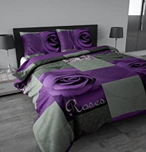 sleeptime housse de couette garden rose purple 240x200. Black Bedroom Furniture Sets. Home Design Ideas