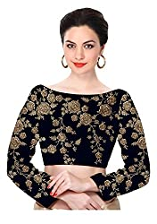 Fabron navy blue raw silk dori and sequins floral design heavy work un-stitched blouse for women.