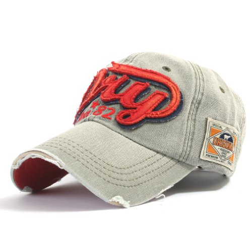 ililily Distressed Vintage Style Denim DRY Baseball Cap Pre-curved Bill and Embroidery on Front and Side with Adjustable Leather Strap Snapback Trucker Hat (ballcap-595-4)