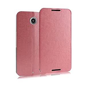 Heartly Premium Luxury PU Leather Flip Stand Back Case Cover For Motorola Google Nexus 6 4G LTE - Cute Pink