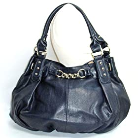 Large Navy Blue Leather Lk Slouchy Hobo Satchel Handbag