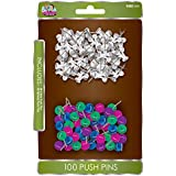 Board Dudes Value Pack Push Pins, 50 Standard Clear, 50 Multicolor Sphere (DFB72)