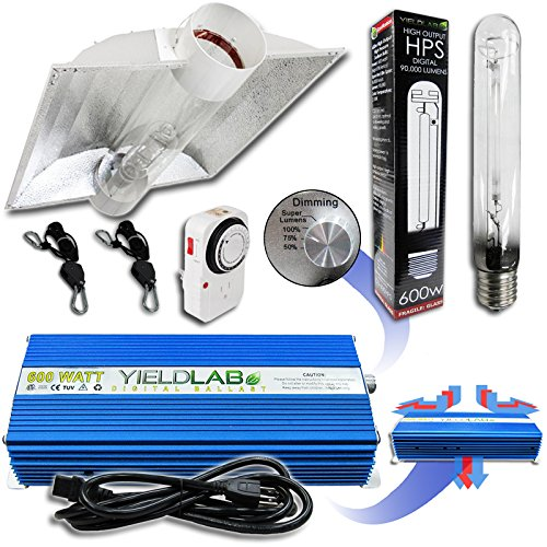 Yield Lab 600w HPS Cool Tube Hood Reflector Grow Light Kit (Cool Tube Kit compare prices)