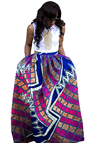 Women's African Print Pleated Maxi Dress Ball Gown Length Skirt Purple Large