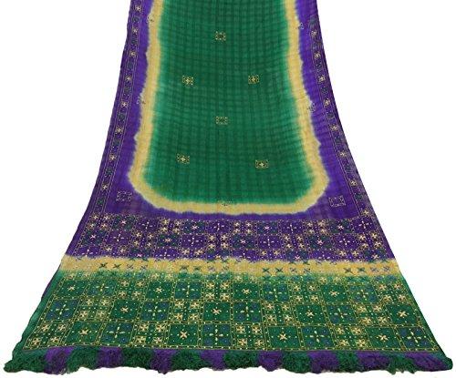 tessuto-vintage-indiano-puro-khadi-seta-ricamata-saree-verde-etnia-sari-craft