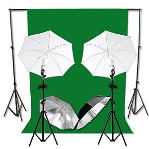 125W 5500K Hintergrundsystem 2,8 x 3m mit Hintergrundstoff Grün Screen 6 x 3 m Fotolampe Stativ Reflexschirm Komplett Set