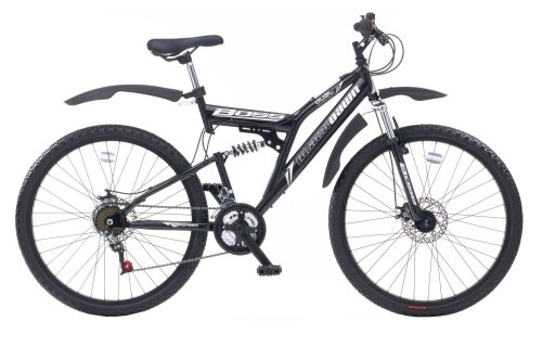 Boss Blackdawn Men's Dual Suspension Mountain Bike - 26-Inch, Black