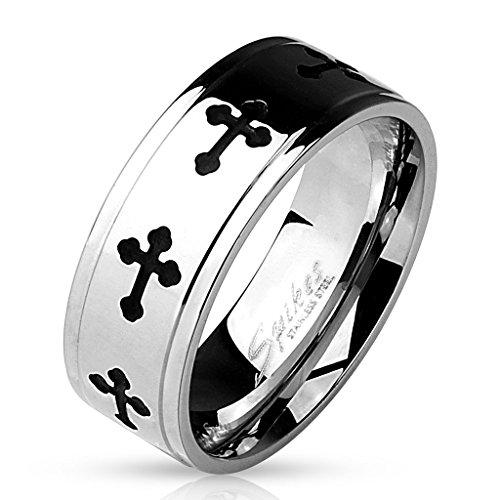 BlackAmazement anello rotante anello di acciaio inox Celtic Cross girevole donne uomini, acciaio inossidabile, 20, cod. -