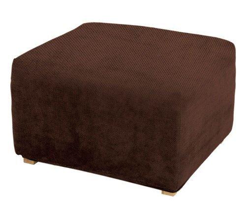 Sure Fit Stretch Pique Ottoman Slipcover, 1-Piece, Chocolate