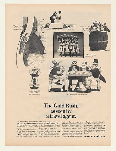 1964 American Airlines Gold Rush Seen Travel Agent Print Ad (47761)