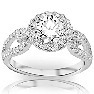 1.55 Carat Round Cut/Shape 14K White Gold Halo Style Split Shank Love Knot Diamond Engagement Ring ( J-K Color , SI2 Clarity )