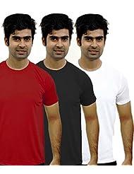 La Monstro Combo Of 3 Round Neck T-shirts - Red, White & Black