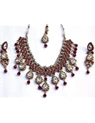 Elegant Elements Zircon And Colored Stone Stud Royal Vintage Necklace Set For Women EEN67
