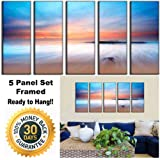 Canvas Prints - Sunset Beach Print on Canvas - Framed and Ready to Hang - 100% Quality Cotton Canvas - Modern Home and Office Interior Decor - Beach Canvas Designs - 5 Panel Print - Wall Art