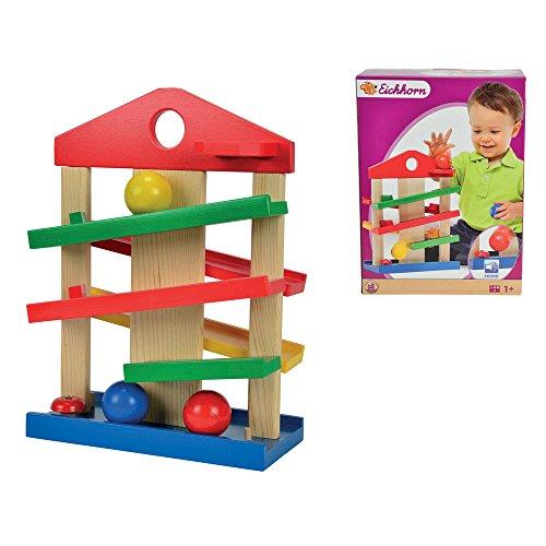 Hummelladen    Holzspielzeug Kugelbahn Haus für Kinder ab 12 Monaten    Baby Holz Rollbahn Holzkugelbahn