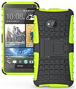 Heartly Flip Kick Stand Hard Dual Armor Hybrid Rugged Bumper Back Case Cover For HTC One M7 Single Sim - Green