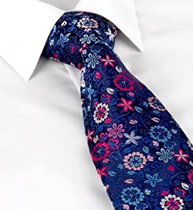 Sartorial Made In England Pure Silk Floral Embroidered Tie