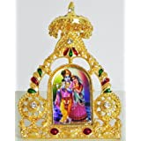 DollsofIndia Radha Krishna On Stone Studded And Golden Carved Metal Frame - Metal Frame - B00LD5SBSE
