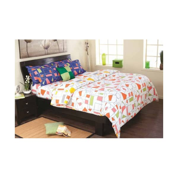 Dealtz Cadence Cotton Bedsheet with 2 Pillow Covers - King Size, Blue (9042832) at Sears.com