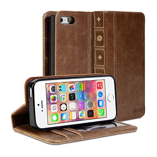iPhone 5S case, GMYLE Book Case Vintage (With TPU Case Cover) for iPhone 5 5S - Brown Classic [Crazy Horse Pattern] [PU Leather] Book style Wallet Flip Case Cover