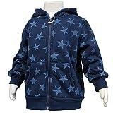 ボーイズキッズ[Blue Mart(ブルーマート)]男の子 男児 子供 星ドット柄裏ボアジャンパー コート 上着110cm ネイビー