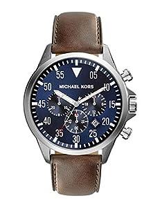b415d8db32fd Michael Kors Gage Chronograph Blue Dial Brown Leather Mens Watch MK8362 Michael  Kors Watches