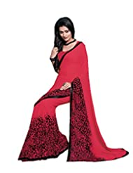 ISHIN Georegette Red & Black Printed Saree