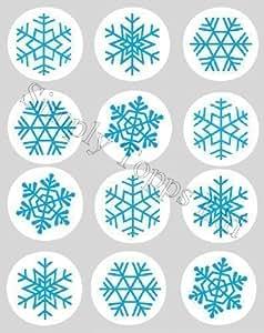 Décoration Gateau Motif Flocon De Neige Noel Bleu Papier De Riz Comestible 40mm Lot x12