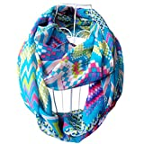 Tapp C. Multicolor Fashion Digitized Chevron Infinity Scarf - Blue