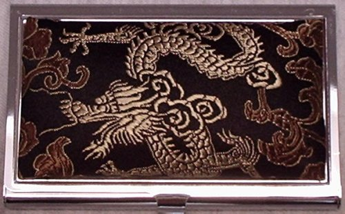 Deluxe Metal Business Card Holder Case Black Fabric Gold Dragon