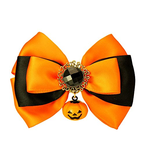OMEM Halloween Pumpkin Charms Funny Pet Bow Collar for Dogs and Cats Handmade (Flash Jewellery, S) (Easy Pinup Hair)