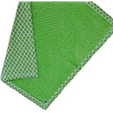 "Cozy Wozy Quatrefoil Print Cotton And Minky Baby Blanket With Mitered Corners, Bright Green, 32"" X 37"""