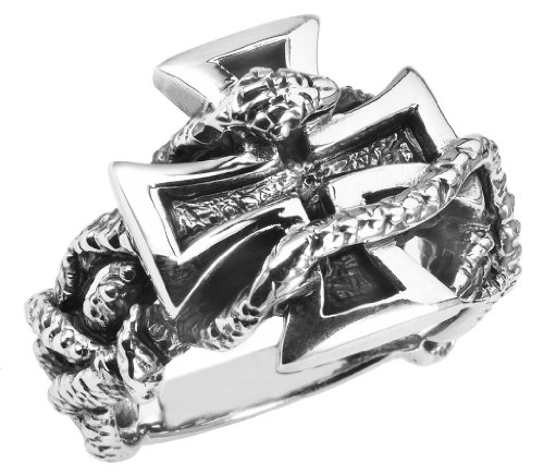 Stainless Steel IRON CROSS WITH SNAKE Ring (Available in Sizes 10 to 14) size 14